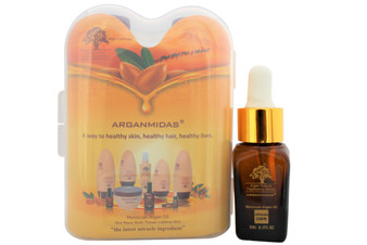 Travel Set includes: 1-Arganmidas Shampoo & Conditioner Travel Size 2 Pack with 100% Pure Moroccan Argan Oil-Ultra Hydrating & Nourishing Color Safe Natural Sun Protection Salon Quality for Men and Women All Hair Types. 1.7 oz each  1- Travel Size Moroccan Argan Oil Serum for Skin and Hair (10ML)  About the product Shampoo promotes growth of healthy, stronger, softer and more manageable Argan oil plus botanical extracts and oils enhance shine and health of hair and scalp Replenishes hair damaged from heat, chemicals and environmental elements Conditioner hydrates and protects, leaving hair shiny and thicker 100% Pure & Natural Moroccan Argan Oil moisturizes and repair hair damage