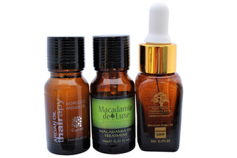Macadamia, Thairapy, and Arganmidas Moroccan Argan Oil-100% Pure & Natural Healing Treatment for Hair and Skin  3-Travel Size Each Bottle .33 oz(10ml)