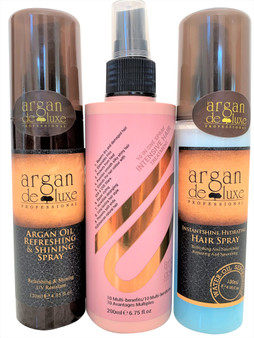 Argan Deluxe Spray Trio Set-Thermal Shine Shield Spray, Insta Shine Silk Press Spray & 10 n 1 Multi Benefits Spray
