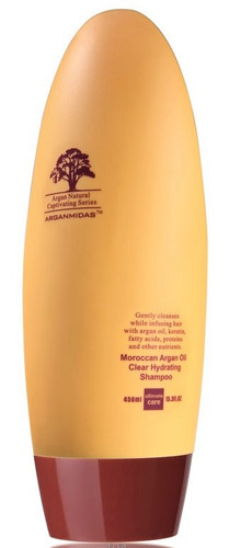 Gently cleanses while infusing hair with argan oil, keratin, fatty acids, proteins and other nutrients.  Directions  Bring back life and luster to your hair with the Arganmidas Moroccan Argan Oil Clear Hydrating Shampoo. Infused with Argan oil, rich in Vitamin E, and hair strengthening keratin, this shampoo is specially blended to help restore health and shine to your hair.  Completely safe for color treated hair, this shampoo is a great moisturizer for hair! A little will go a long way in this 450ml bottle that will have your hair beautifully strong and revitalized!  Apply to wet hair and gently massage into scalp. Rinse and repeat as needed. For best results, follow with Arganmidas Moroccan Argan Oil Clear Hydrating  Conditioner 15 oz.
