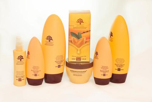 Arganmidas Moroccan Argan Oil Luxury Bundle Includes  Hydrating Shampoo 15 oz.  Hydrating Conditioner 15 oz.  Instant Repair Mask 10 oz.  Fresh Curl Cream 6 oz.  Ultra Hydrating Moisturizing Cream 6 oz.  Real Control Shine Spray 3 oz.  Morrocan Hair and Body Argan Oil 3 oz.
