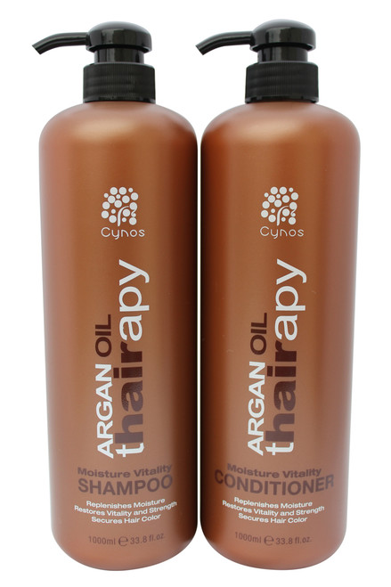 Argan Thairapy shampoo and conditioner bonus set (2 x 33oz.) features 100% pure Argan Oil that's imported from Morocco to ensure that your hair receives supreme care. Provides superior protection, moisture, and a lasting shine. Nourishes, hydrates, and strengthens the hair. Restores split ends, breakage and dryness using of moisture rich ingredients , and essential amino acids. Infused with Vitamin E, Omega 3 and collagen Amino acids for stronger healthier shiny hair. Promotes healing of hair Blocks the effects of humidity. Great for all hair types.. MADE WITH THE HIGHEST QUALITY ARGAN OIL – Argan Oil (Argania Spinosa) is widely known as one of the most effective ingredients in all of hair care, but don't just settle for any product that claims to have Argan Oil in it.