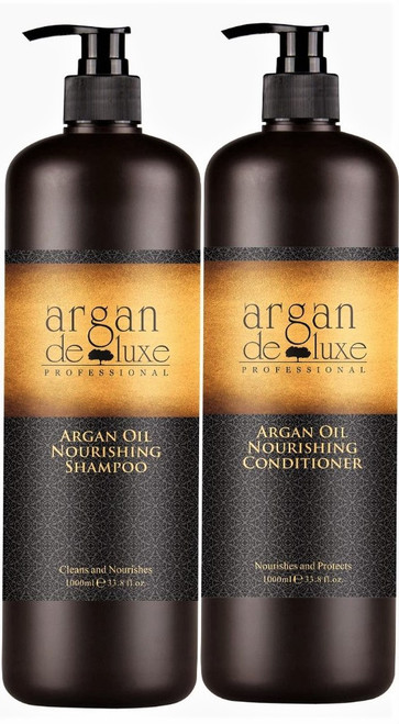 ARGAN DELUXE 100% Pure MOROCCAN ARGAN OIL Shampoo and Conditioner Liter Set. Infused Products are Rich in VITAMIN E- a POWERFUL Antioxidant Proven to Leave Soft Silky Shiny Hair, and Oil Serum provides Radiant Youthful and Smooth Skin- Buy With Confidence Today! 33 oz each