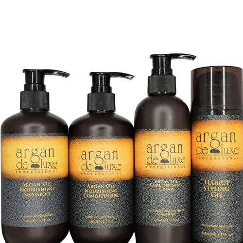 Argan Deluxe Professional Moroccan Oil Nourishing Shampoo Sulfate Free This Argan Oil shampoo gently cleanses the hair fiber, provides softness and detangles. Hair is nourished with Vitamin E, Omega 3 and Omega 9, and looks healthy and shiny from roots to ends. 10oz.  Argan Deluxe Moroccan Oil Ultra Hydrating & Nourishing Conditioner This Argan Oil conditioner provides instant nourishment, delivers shine, softness and suppleness to the hair. Fiber is protected against dryness and environmental damage. 10 oz.  Argan Deluxe Professional Curl defining Cream applies the latest Curl Memory Technology which softens the hair fiber, detangles and fights against heat and humidity damage. The Argan oil conditioning agents penetrate into the inside of hair quickly, revives elasticity and health, leaving hair extremely supple and flowing. -Curl Memory Technology -Revives Elasticity Directions: Apply proper amount to towel-dried or dry hair, focusing on mid-lengths and ends. Style as usual. 10oz.  Argan Deluxe Hairup Styling Gel This hydrating strong hold and long-lasting styling gel for smooth and structured looks. HairUp Styling Gel helps set in styles from smooth straight to voluminous body for both wet and dry styles. It's argan oil-infused formula offers flexible control, with an ultimate shine and no build up or flaking.  Directions: Squeeze on damp hair to set, sculpt tame or twist a fearless finish. Apply to dry hair for ultra-hold and control. 5 oz.