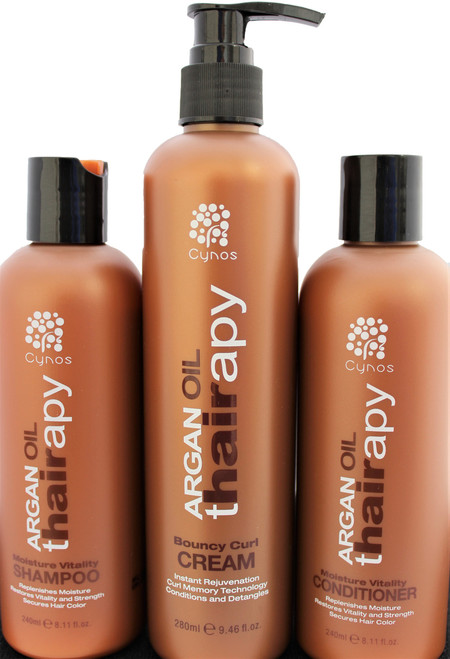 Argan Thairapy shampoo and conditioner bonus set (2 x 8oz.) features 100% pure Argan Oil that's imported from Morocco to ensure that your hair receives supreme care. Provides superior protection, moisture, and a lasting shine. Nourishes, hydrates, and strengthens the hair. Restores split ends, breakage and dryness using of moisture rich ingredients , and essential amino acids. Infused with Vitamin E, Omega 3 and collagen Amino acids for stronger healthier shiny hair. Promotes healing of hair Blocks the effects of humidity. Great for all hair types.. MADE WITH THE HIGHEST QUALITY ARGAN OIL – Argan Oil (Argania Spinosa) is widely known as one of the most effective ingredients in all of hair care, but don't just settle for any product that claims to have Argan Oil in it.  Bouncy Curl Cream Instant Rejuvenation  Curl Memory Technology Conditions and Detangles Silvertree Argan Oil Bouncy Curl Cream is instant rejuvenation for curly, wavy or textured hair. The special Curl Memory Technology energizes and imparts awesome definition, separation, and bounce without any crunchy feeling, while argan oil conditioning agents offer extra conditioning and detangling properties, leaving hair pliable, lustrous and manageable. DIRECTIONS: Apply Silvertree Argan Oil Bouncy Curl Cream to wet or dry hair, use fingers to distribute smoothly to define, shape and style curls. 9 oz.