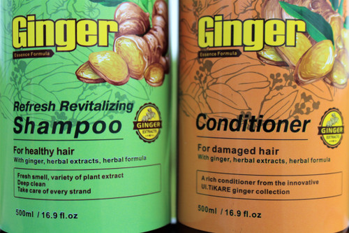 Ginger Shampoo-Refresh and Revitalizing 16 fl. oz.   The Anti-Hair Loss Shampoo includes herbal material ginger ginseng ingredients, can effectively reduce hair thinning by promoting hair strength and thickness along with increased volume and reduced breakage problems.   For healthy hair use this shampoo infused with Ginger, herbal extracts and a Fresh smell.   Deeply promotes hair growth by stimulating hair follicles so as to improve hair loss and baldness.     Nourishes damage hair roots and hair tail, nourishes the scalp, replenishes nutrients and moisture   Anti Dandruff,  Promotes hair growth Eczema relief   Ginger Conditioner-Essence Formula 16 fl. oz          The ginger conditioner will calm and restore the scalp follicles, and offer the best way to healthy hair.   Enriched with ginger extract your hair will be left feeling and looking revitalized. Stimulates hair follicles, enhancing hair growth and preventing hair loss Promotes healthy, strong, shiny and lustrous hair Softens the hair without weighing it down