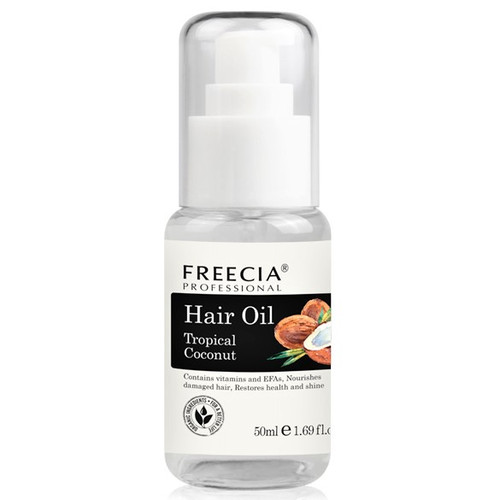 Freecia Professional Coconut Oil For All Hair Types Daily Hydration Finishing Oil Serum Silicone-Free Infused with the 100% natural Coconut Oil, Freecia's Hair Oil is undoubtedly good for maintaining moisture, softness and shine without adding weight. Beneficial for combating environmental aggressors, Coconut Hair Oil is dedicated to give your hair a new life and keep your hair healthier, shinier and more beautiful. Amazing scent also used to soften your hair. Contains vitamins and EFAs, Nourished damaged hair, Restores health and shine. Enriched with coconut oil, our 100% vegan, deliciously-scented treatment can be used before your haircare ritual, left on overnight or massaged into dry ends, making locks look stronger, smoother and softer. Whatever your hair type, this flexible treatment can be either: Directions- Apply a few drops to damp or dry hair as needed. Do not rinse. Style as desired.  Massaged into hair at least five minutes before cleansing. Left on as an overnight treatment and washed out in the morning. Or applied onto clean hair to nourish dry ends.  Size 1.69 fl. oz.