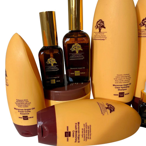 Arganmidas Luxury Hair and Skin Care Box Set with Shampoo, Conditioner, Argan Oil Serum, and Deep Conditioning Mask