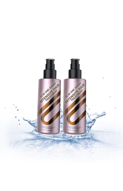 10 Amazing Features  Perfect for easy combing, moisture & heat protection  Inhibits dry, damaged hair Adds shine Detangles Controls Frizz Seals & protects hair color Helps prevent split ends Stops hair breakage Creates Silkiness Enhances natural body Flat iron spray & thermal protection