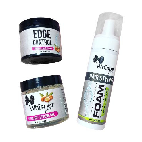 Whisper Whip Hair Styling Bundle includes:     Whisper Whip Ultra Hold Styling Gel-LIGHT DEFINING MOLDING HAIR GEL 6 oz.  If you want a non-drying gel that will give you curl control, added moisture and long-lasting, frizz-free definition without the crunch, your search is over! The Whisper Whip Gel is formulated to hydrate your curls while providing a soft hold all day long. This control styling gel can be used on wavy, curly, or super curly hair.  Perfect for molding.  Benefits:  Provides Extra Hold, For all Hair Types, Styling Gel Also Great for Braiding, Twisting and Smooth Edges Extra Hold formula has micro-emulsion technology for great extra hold, shine and conditioning with up to 3X less breakage and no wax, no flaking and no drying alcohol. This hair gel provides a flake-free conditioning strong hold; It conditions and shines and is great for styling, braiding, smooth edges and twisting, taming frizz. Shiny, sleek styles that last No Alcohol No Silicones Directions: Use on damp or dry hair. Apply a small amount of gel to hair roots or hairline. Braid, twist, and style as desired. Air dry or sit under a hooded dryer to set style.    Whisper Whip Moisture & Shine Edge Control Smoother for Dry Hair and Dull Hair, Clear Edge Smoother, Edge Tamer, 5 oz.  Benefits:  Provides a firm hold Moisturizes and smoothens hair Edges Provides a beautiful finished polish to hair styles with an intense shine Provides texture to short styles Smooth with a brush or small tooth comb for a sleek finish. Edge Control provides a long-lasting hold without flaking or build-up. No Flaking or White Residue Delivers shine and helps rebuild thinning edges. Great for natural, color treated or relaxed hair. Perfect for smoothing edges and ideal for everyday use.  Directions:  Use on damp or dry hair. Apply desired amount of edge control hairline.   Perfect for braids and twists.       Whisper Whip Foam Styling Mousse 6.9 oz.  Increases HAIR strength and elasticity to promote healthy hair growth. Provides added moisture and shine. This curling mousse, wrap hair styling foam is also for Curly hair, Straight hair, Roller sets, Finger coils, Curl definition, Wigs units or Installs.  Our amazing formula will leave Braids with a beautiful shine and a soft flexible hold. Pump mousse into hands and apply to dry, straight hair or Braid extensions to control flyaway or shape Edges. Or work mousse through the Wet hair and re-style as desired.    Benefits:   A high performance, lightweight aerated mousse gives lifeless hair a volume injection for 24 hours Infused with thickening agents, hair is boosted for a long lasting, bouncy and volumized look Boosts style endurance with a workable, holding matrix that locks style strand by strand Advanced hair formula for Extra Strong Hold, Soft Touch, Heat Protection Perfect for adding volume to existing hairstyles and boosting hair styling endurance For long-lasting styles. For relaxed and natural hair  Directions:  Hold bottle upside down and dispense into palm. BOOST IT evenly throughout damp hair. Style as usual. Flammable. Avoid fire, flame and heat during application and until hair is fully dry. Avoid spraying in eyes. Contents under pressure. Do not puncture or incinerate. Do not store at temperatures above 120ºF (49ºC). Keep out of reach of children. Use only as directed. Intentional misuse by deliberately concentrating and inhaling contents can be harmful or fatal.