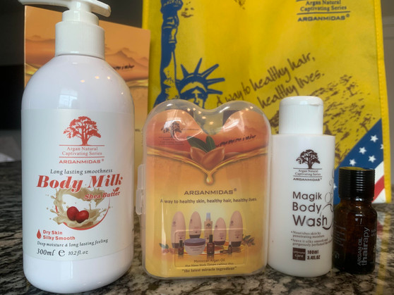 Hair and Body Luxury Set includes:  Body Milk with Shea Butter 10 oz.  Shampoo and Conditioner-Travel Size   Moroccan Argan Oil Serum-Travel Size