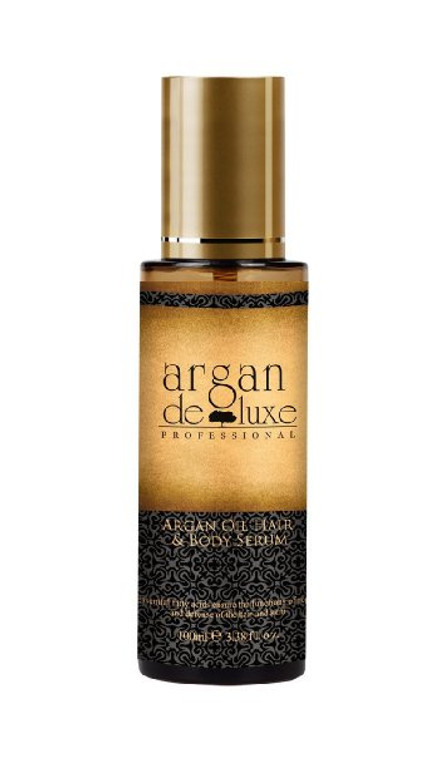 Argan Deluxe Professional Moroccan Argan Oil is A multitasking hair treatment infused with argan oil and shine,boosting vitamins. Versatile, all,in,one product conditions, detanglesaand speeds up drying time.  Leaves hair soft, smooth, with improved manageability. Controls frizz and flyaway, while imparting shine.  Essential fatty acids ensure the functions of repair and defense of the hair and skin. The composition of argan, a most stable unique oil, endows it with many benefits which are scientifically proved today.  Argan oil presents an exceptional percentage of essential fatty acids, one of which is linoleic acid (omega 6, the most essential of all) ensuring the functions of repair and defense of the hair and skin. Vitamin E protects the cell membranes against lipid oxidization and thus slows down the process of hair and skin ageing.  Directions: Hair: Spread the argan oil from the roots to the ends and leave for about an hour before shampooing. Dry and brittle hair recovers brilliance and suppleness. Body: After bath, warm the argan oil in your hands and massage your body with upward movements. Twice or three times a week. Size 50ml