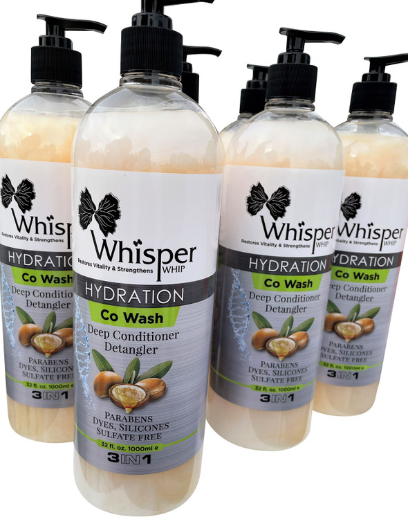 FLASH SALE 6 Whisper Whip. One Case for $90     Share this amazing 3 in 1 product with your family and friends!!!!  Each Bottle is 32 oz.   Whisper Whip Hydration can be used as a Co Wash, Deep Conditioner, or a Leave in styling cream.    As a Co Wash: Apply a generous amount of Whisper Whip to hair strands using your fingers to detangle and define your curls. Massage scalp last. Rinse then repeat.  As a Deep Conditioner: Apply a generous amount of Whisper Whip to hair strands using fingers to detangle and define your curls. Wrap hair in a plastic cap then sit under a warm dryer for 25 minutes. Rinse then proceed with your styling products.  As a Leave in styling cream. Apply desired amount of Whisper Whip to your hair and define curls. Do not rinse. Its rich formula leaves your hair feeling soft and less likely to break.  Ingredients: Water Coconut Oil, Olive Oil, Shea Butter Oil, Jojoba Oil, Keratin Enzymes, cetyl alchohol, Steralkonium Chloride, Propyline Glycol, DMDM Hydantoin, Dicetyldimonium Chloride, Polysorbate 20, Fragrance (Parfum), Citric Acid, Blue 1 (Cl 42090), Red 33 (CI 1)7200), Red 4 (Cl 14700), C1 19140 (Yellow #5), Honey Miel, Hydrolyzed Keratin, Prunus Amygdalus Dulcis (Sweet Almond)           REVIEWS 5 stars Great Hair Product-Whisper Whip By Holistic Hippie Momma of 2 Toddlerson  Verified Purchase Man I love this stuff! I'm of mixed race (Caribbean, Scottish, Peruvian) and my kids are half American Black and my mix, and this just works wonders for our hair. It has a super sweet smell, but not over powering. It feels light going into our hair as well. We use this as a cowash and a leave in, and I just love it. Definitely worth the $20. I usually can't bring myself to spend more than five bucks on hair products, but this lasts, smells good, is light, and is well worth the price.     5 stars Whisper whip gets out the tangles and an easy way to do a co-wash and I love the ... By Amazon Customer  Verified Purchase Whisper whip gets out the tangles an