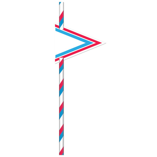 Red/Blue Striped 19cm Straws [24pcs]