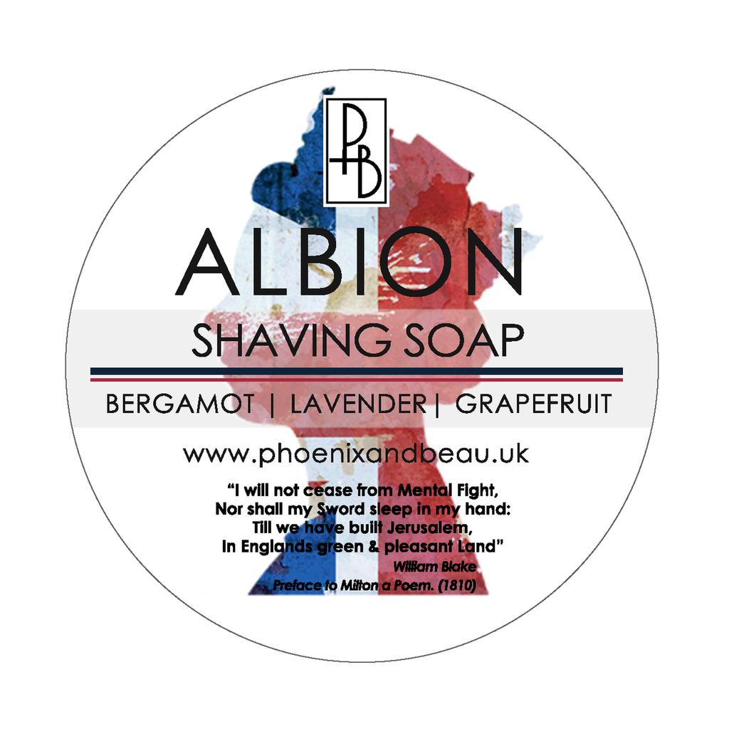Phoenix and Beau Albion Shaving Soap    Bergamot Lavender & Grapefruit   4oz   Agent Shave   Traditional Wet Shaving