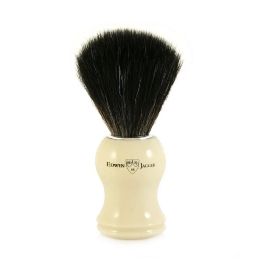 Edwin Jagger Synthetic Shaving Brush - Imitation Ivory   Agent Shave   Wet Shaving Supplies UK