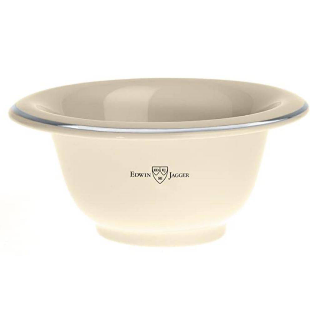 Edwin Jagger Ivory Porcelain Shaving Soap Bowl with Silver Rim   Agent Shave    Wet Shaving Supplies UK