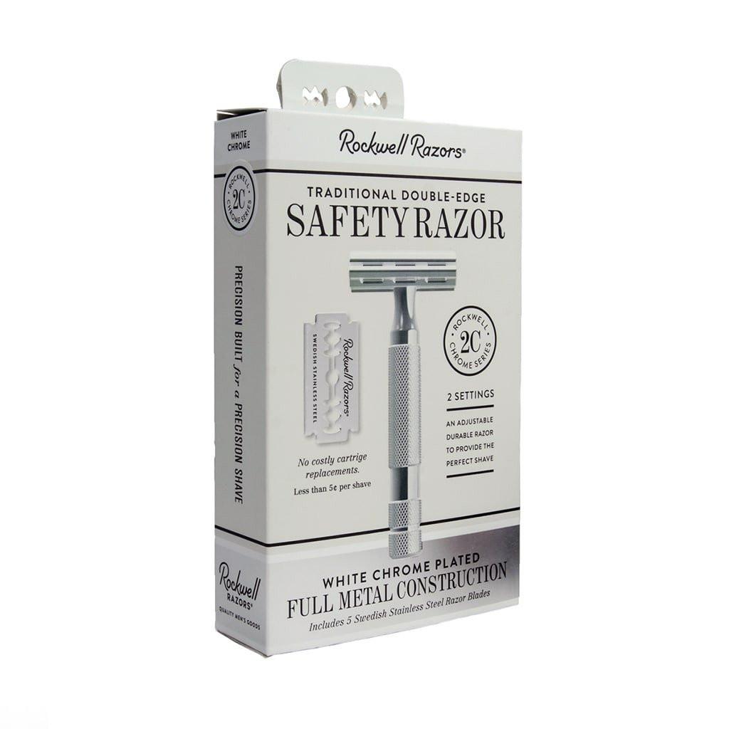Rockwell Razors 2c Adjustable Double Edge Safety Razor - White Chrome | Agent Shave | Traditional Wet Shaving