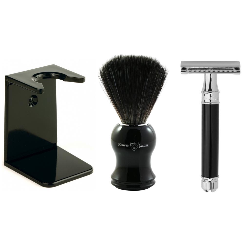 Edwin Jagger Black Shaving Gift Set - Synthetic Brush - DE86 Safety Razor - Stand - Rapira Pink Blade | Agent Shave | Wet Shaving Supplies UK