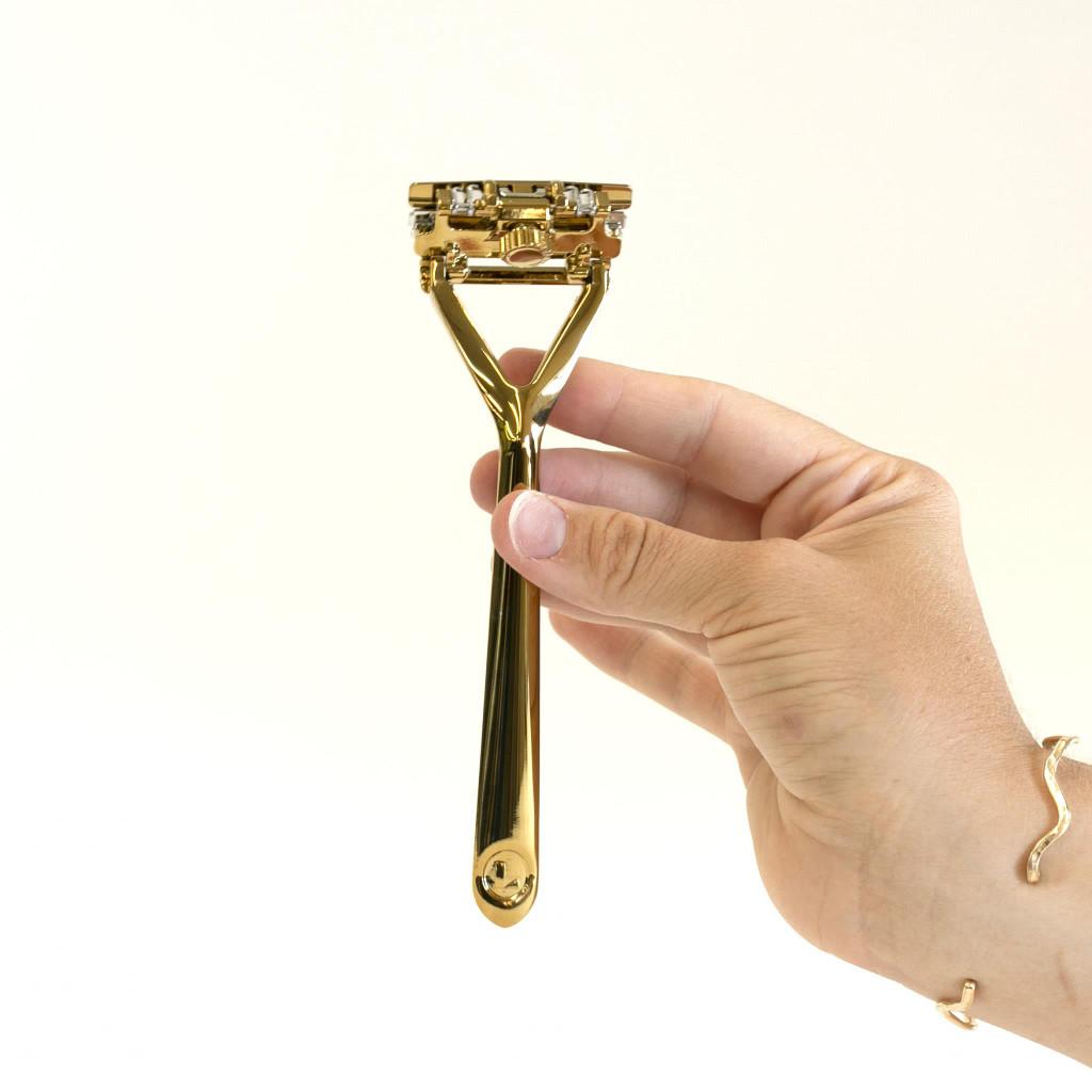 Leaf Shave Razor - Gold   Agent Shave   Wet Shaving Supplies UK