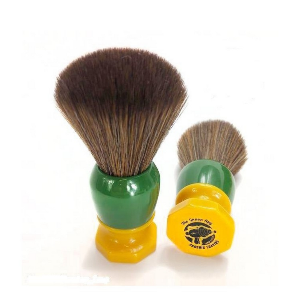 Phoenix Artisan Accoutrements Shaving Brush - Green Ray 24mm Synthetic Knot   Agent Shave   Wet Shaving Supplies UK
