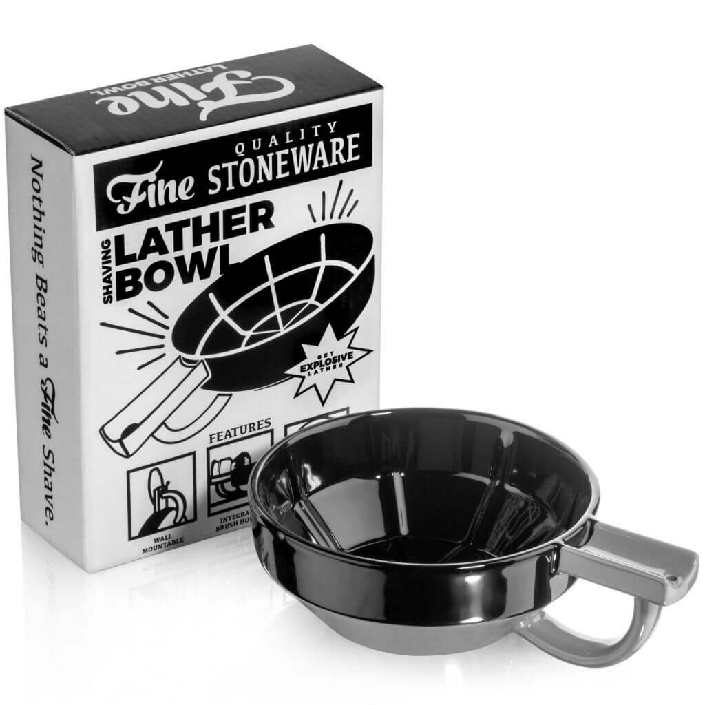 Fine Ceramic Shaving Bowl - Black & Grey | Agent Shave | Wet Shaving Supplies UK