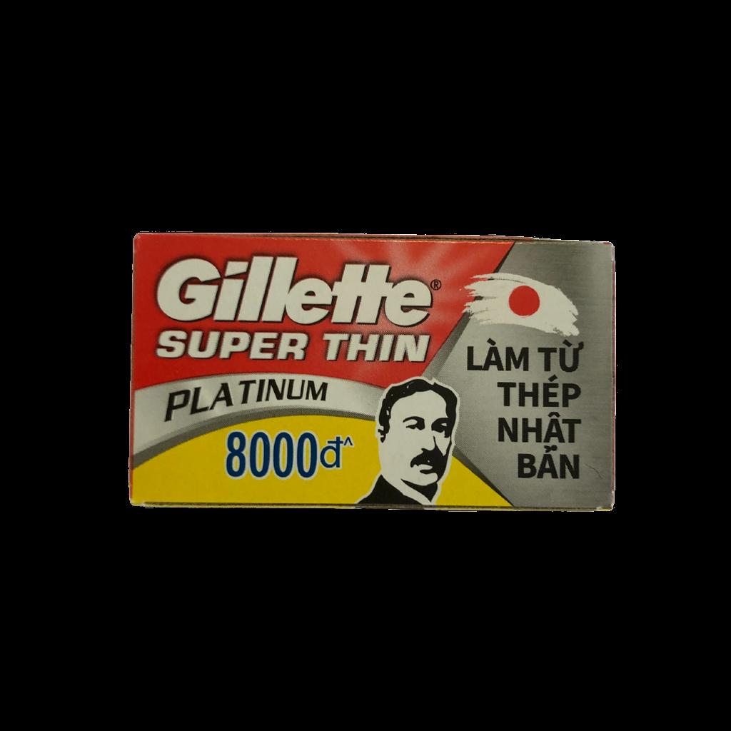 Gillette Super Thin Platinum Double Edge DE Razor Blades 5s | Agent Shave | Wet Shaving Supplies UK