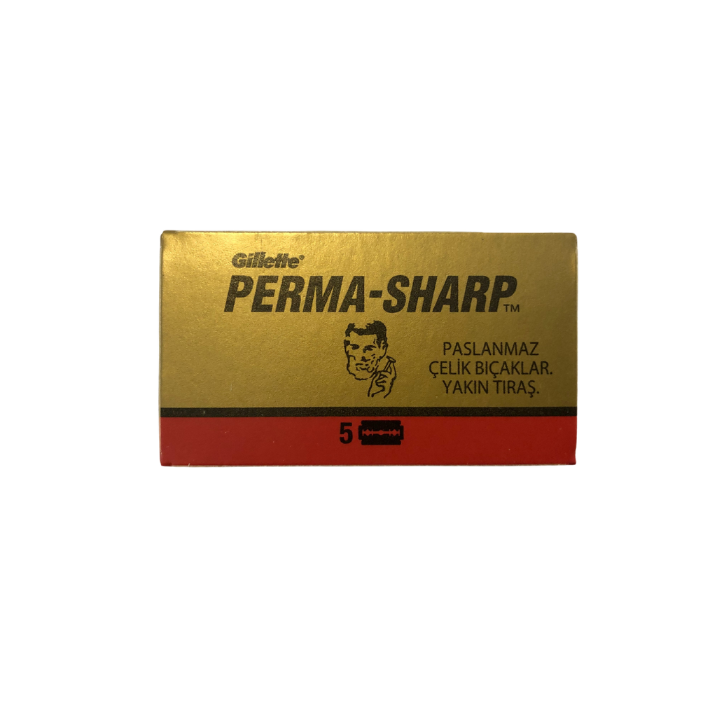 Gillette Perma-Sharp Double Edge DE Razor Blades 5s   Agent Shave   Wet Shaving Supplies UK