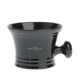 Edwin Jagger Shaving Soap Bowl with handle - Black Porcelain   Agent Shave   Traditional Wet Shaving Supplies