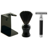 Edwin Jagger Black Shaving Gift Set - Synthetic Brush - DE86 Safety Razor - Stand - Rapira Pink Blade | Agent Shave | Wet Shaving Supplies UK