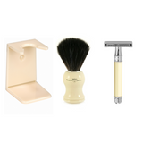 Edwin Jagger Ivory Gift Set - Shaving Brush, Safety Razor & Stand | Agent Shave | Wet Shaving Supplies Uk