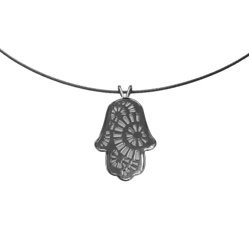 Sterling Silver Hamsa with Radial All Over Pattern