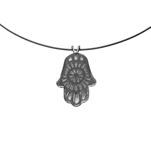 Sterling Silver Hamsa with Central Radial Pattern