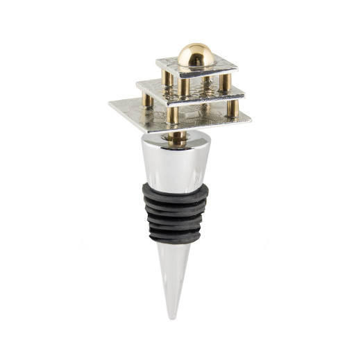 Three Layer Square Wine Bottle Stopper with Brass Accents