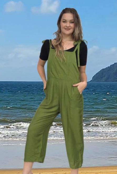 Renee ladies Long Summer Pantsuit, playsuit, colour Khaki Block