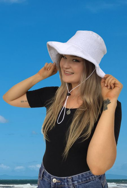 21988 White Terry Towel wide brim hat