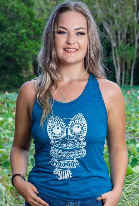 Ash Y Back Ladies Singlet, Teal Owl Printed Design