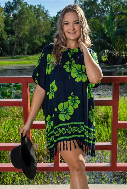 Fringe Hibiscus Ladies Top,  Black and Lime Patterned  fabric.