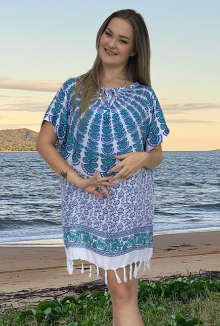 Mandala Ladies Fringe, Whit and Turquoise Patterned Fabric.