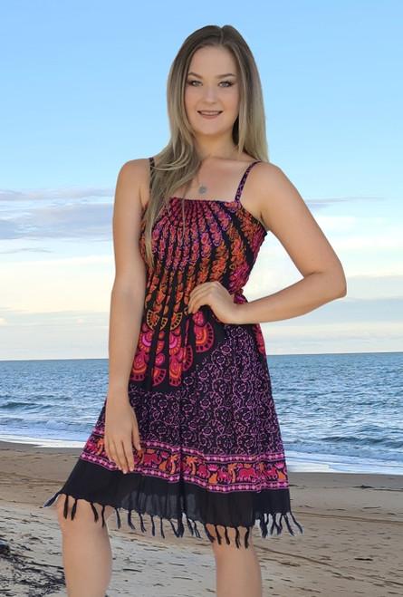 Anna Ladies Shirring dress with straps and fringe. Black and Orange  Mandala Design.