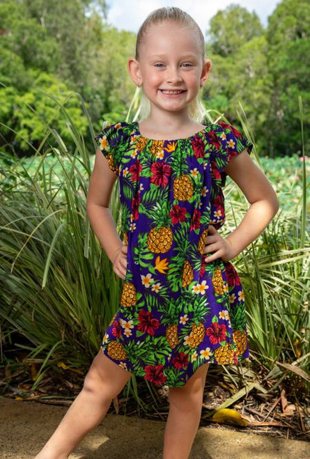 18989 Matilda Kids Peasant Dress Pineapple