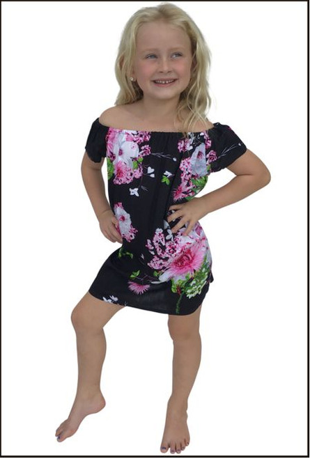 Matilda Kids Peasant Dress,  black flower patterned fabric .