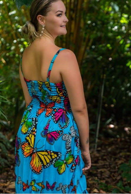 Anna Shirring Butterfly Dress, Turquoise and mult-coloured butterfly print.
