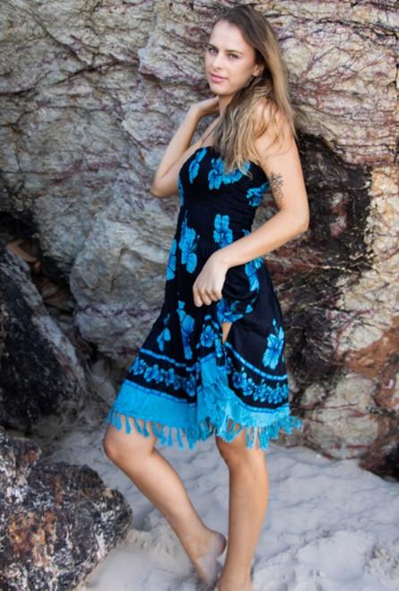 ladies Summer Anna Shirring Dress, black fabric with Turquoise hibiscus print.