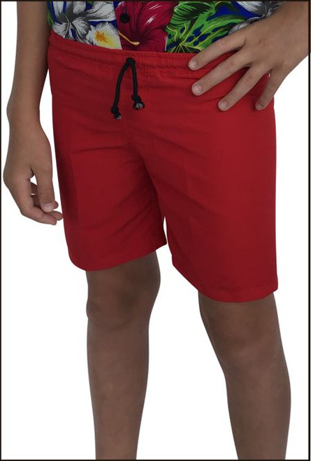 James Summer Board Short, children boys red plain fabric.