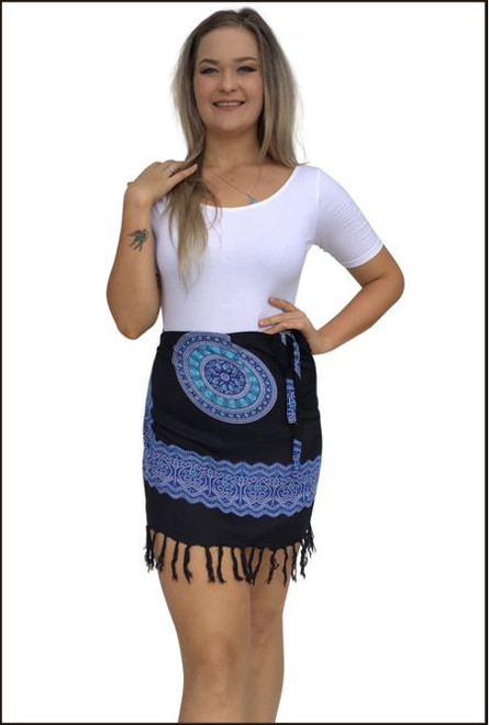 Tie mini padma with fringe,  black fabric with blue patterned  print.