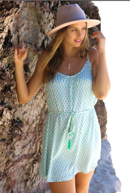Eva Ladies Short Summer Dress, from cool comfortable fabric colour Indian Leaf White Jade