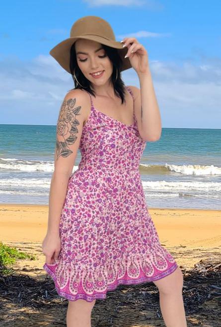 Ally Ladies Thin Strap baby doll summer dress Boho Pink