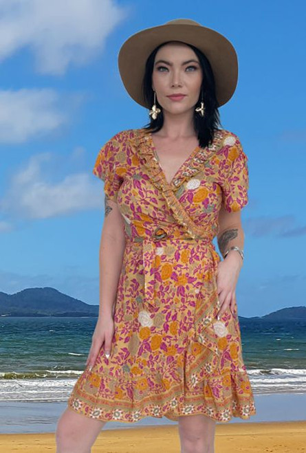 Jessica Ladies Summer Wrap Dress Boho Collection in light cool fabric colours boho Rose Yellow