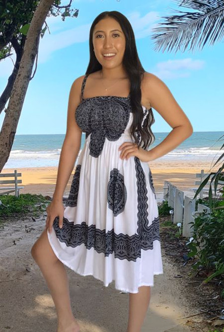 Debbie Ladies Shirring Summer Dress made from cool light rayon material colour  padma black white